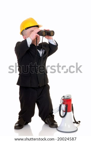 Little man, dwarf construction supervisor with megaphone and binoculars, giving orders, studio shot, white background - stock photo
