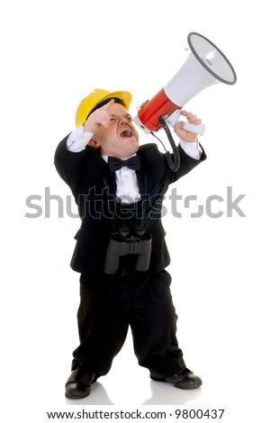 Little man, dwarf construction supervisor with megaphone, giving orders, studio shot, white background - stock photo