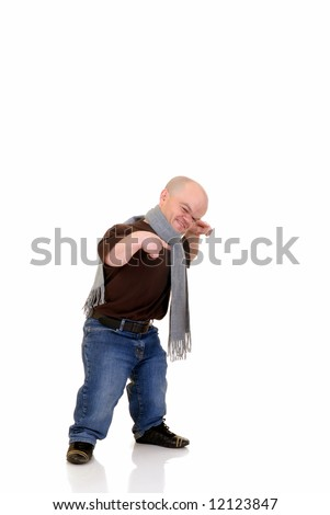Little man, dwarf in leisure clothing, studio shot, white background, copy space - stock photo
