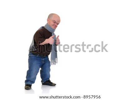 Little man, dwarf in leisure clothing, studio shot, white background, copy space
