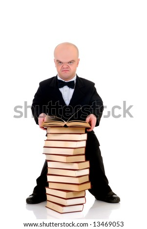 Little man, dwarf teacher in a formal suit reading in stack of books, encyclopedia, studio shot, white background - stock photo