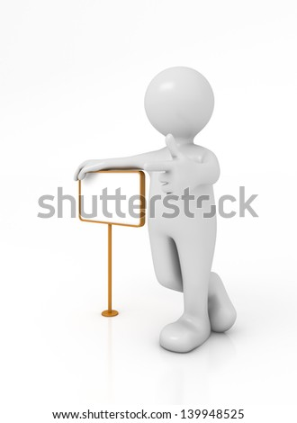 Little Man with metal signboard with clipping path