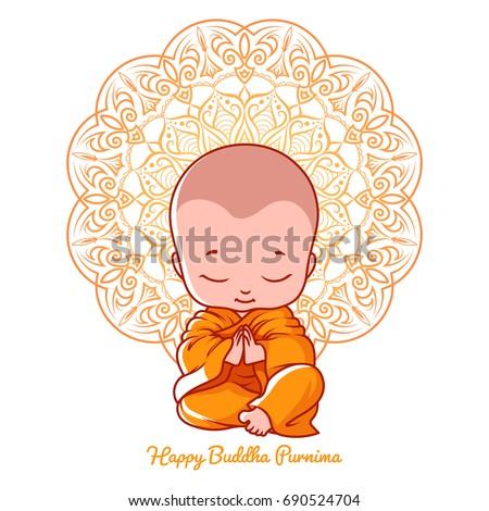 Little meditating monk greeting card buddha stock illustration greeting card for buddha birthday cartoon illustration isolated on a white m4hsunfo