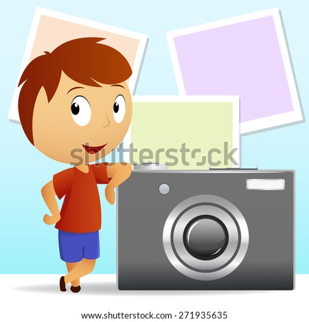 Little men with big camera and photo background. - stock photo