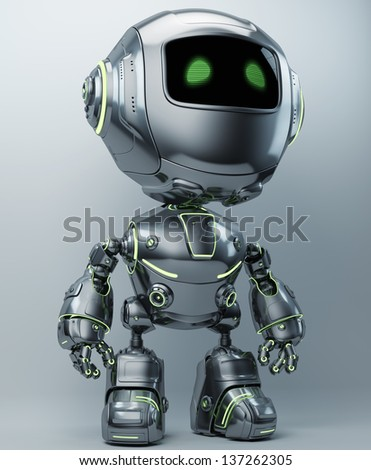 Little metal robot with green illuminated lines / Cute steel robot