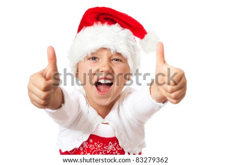 little miss santa showing thumbs up and shouting out loud