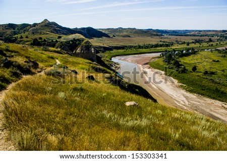 Little Missouri River in Theodore Roosevelt National Park - stock photo