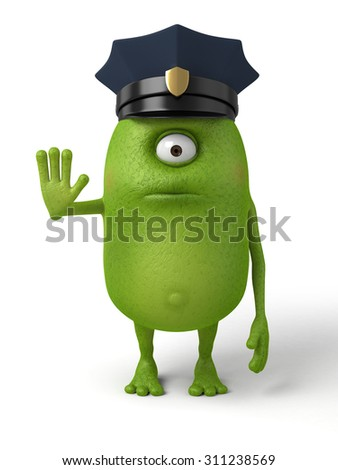Little monster is a policeman