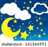 Little moon and stars - stock vector