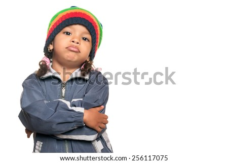 Little multiracial girl with a funny hip hop artist attitude isolated on white - stock photo