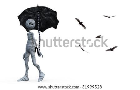 Little Mummy holding umbrella - stock photo