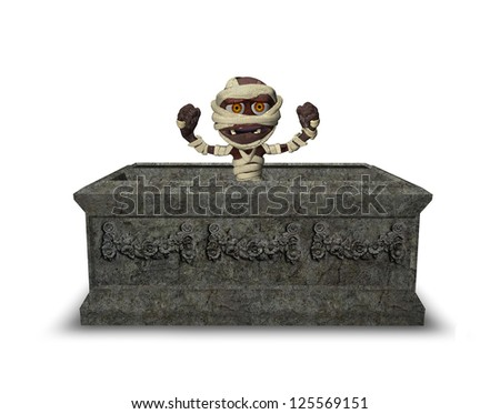 Little Mummy in Tomb Isolated on White - stock photo