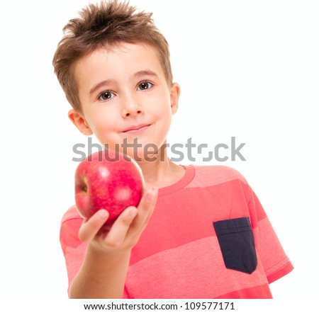 Little naughty boy outstretch the apple isolated on white - stock photo