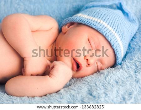 Little newborn baby boy 13 days - stock photo