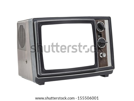 Little old television set isolated with cut out screen and clipping path.