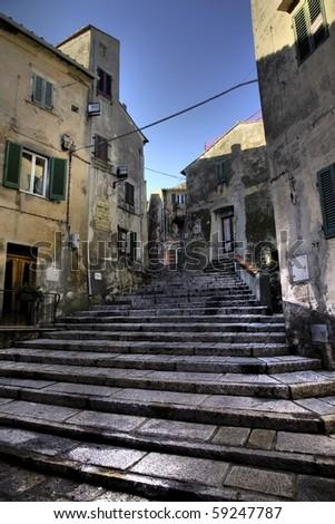 little old town in elba island - stock photo