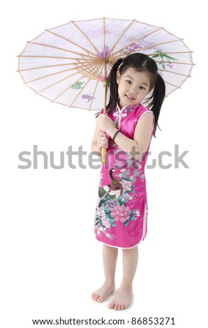 Little oriental girl in traditional Chinese dress cheongsam with umbrell - stock photo