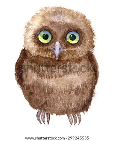 Little owl drawing by watercolor, artistic painting bird, cute fluffy nestling, hand drawn illustration - stock photo