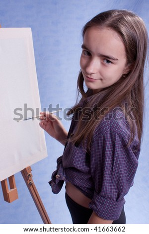 Little painter and easel and brushes