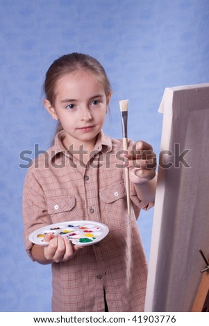 Little painter at the work - stock photo