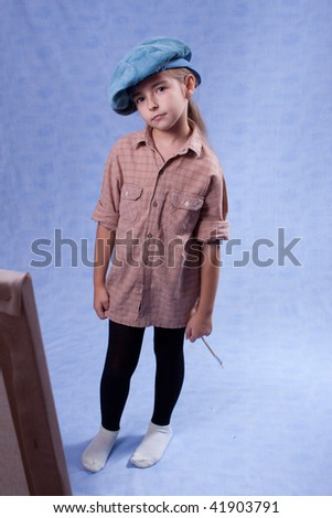 Little painter. It is hard work - stock photo