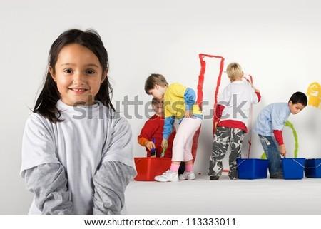 Little painters - stock photo