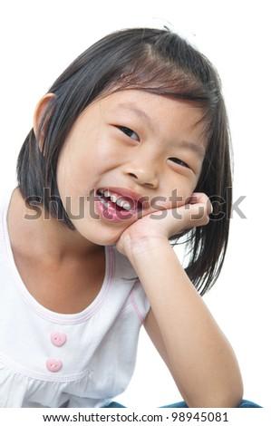 Little pan Asian girl on white background - stock photo