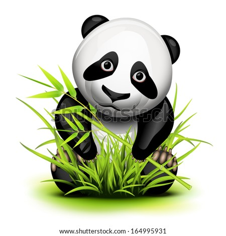 Little panda and bamboo on grass - stock photo