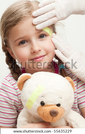 Little patient (no-name teddy bear) - stock photo