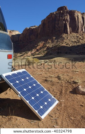 little photovoltaic panel in a van
