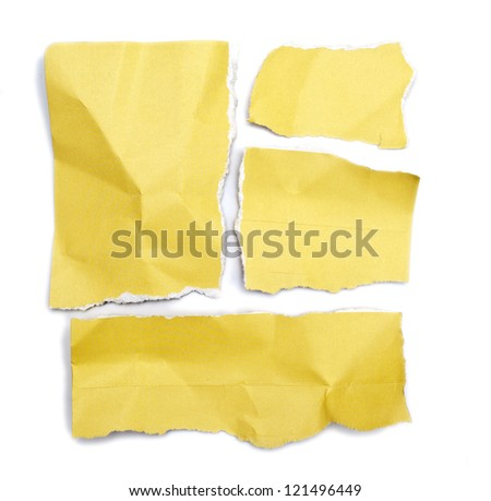 little pieces of paper held by adhesive on a white background in high definition - stock photo