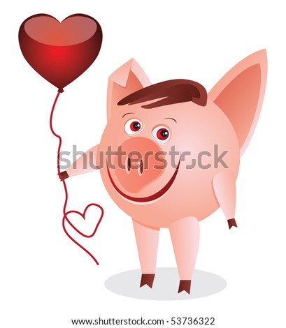 Little pig with the red heart