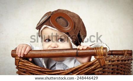 Little pilot - stock photo