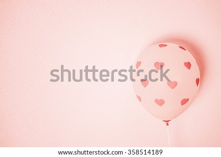 little pink heart on balloon for romantic background  - stock photo