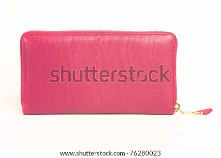 little pink purse  on white - stock photo