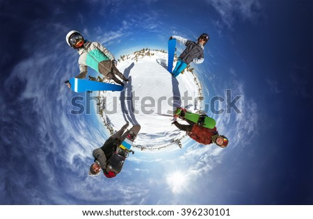 Little planet panorama of group of friends standing around the planet. Sheregesh resort, Siberia, Russia - stock photo