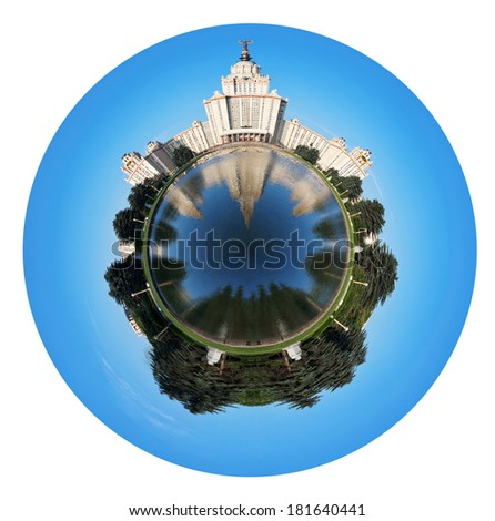 little planet - spherical view of Lomonosov Moscow State University and fountain pond in summer day isolated on white background