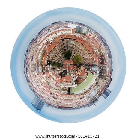 little planet - urban spherical panorama residential district in Istanbul, Turkey isolated on white background - stock photo