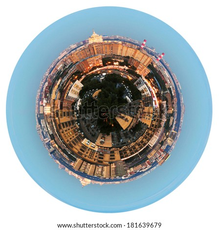little planet - urban spherical panoramic view of residential area in Moscow in evening isolated on white background - stock photo