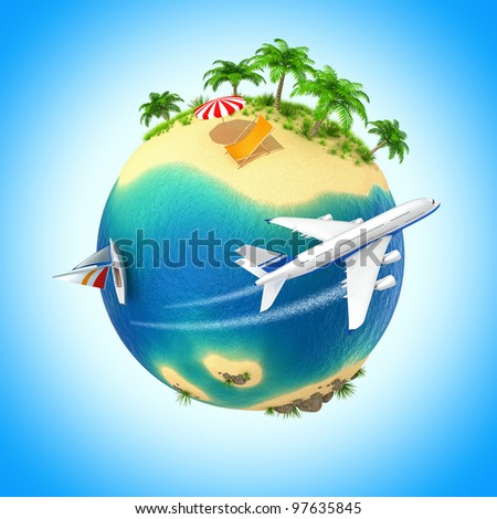 Little planet with a tropical island. Computer generated image. - stock photo