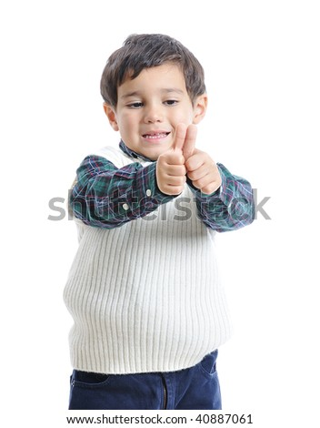 Little positive kid with nice clothes, isolated