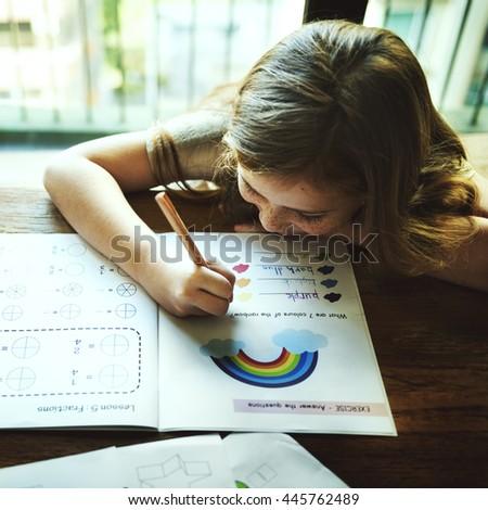 Little Preschooler Writing Activity Concept - stock photo