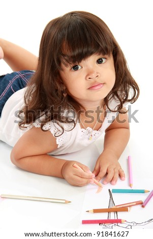 little pretty girl drawing and coloring with pencil color on a white background - stock photo