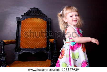 little pretty girl laughing - stock photo
