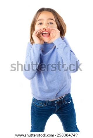 Little pretty girl shouting against white background - stock photo
