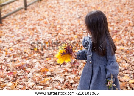 Little pretty girl with autumn leaves in a autumn park - stock photo