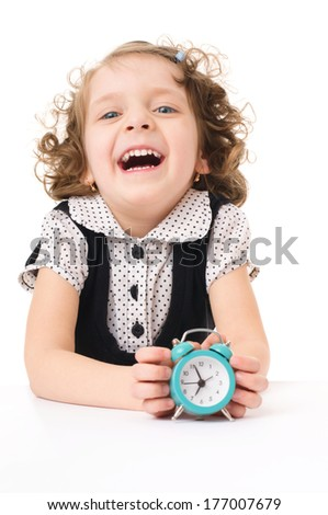 little pretty happy girl with clock, isolated over white - stock photo