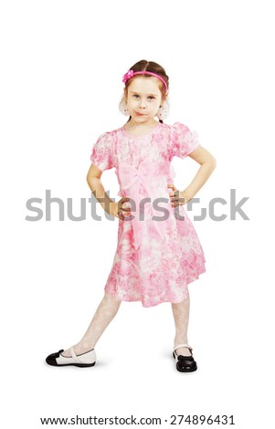 Little pretty naughty girl wearing beautiful pink dress over white background - stock photo
