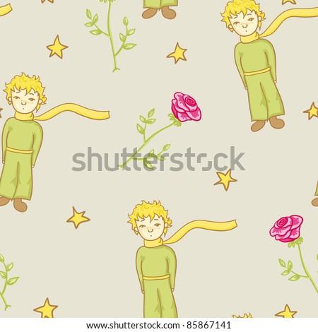 little prince seamless pattern in jpg - stock photo