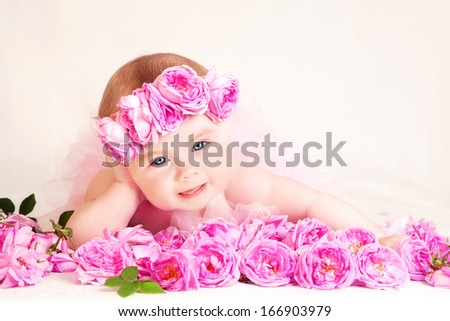 Little Princess. Adorable baby girl dressed up as a little princess. - stock photo